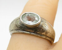 925 Sterling Silver - Vintage Faceted Oval Aquamarine Band Ring Sz 6 - R9683