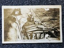 "1921 Old Postcard ""Hoisting Mines From A Lighter To The Deck Of A US Battleship"""