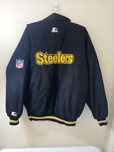 Vintage Pittsburgh Steelers Men's Starter Jacket Full Zip Button Black Large