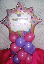 PERSONALISED FOIL BALLOON TABLE DISPLAY HAPPY BIRTHDAY - ANY NAME - AIR FILL PL