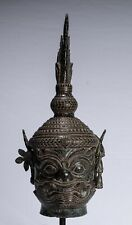 More details for antique angkor wat style mounted bronze khmer temple guardian head - 58cm/23