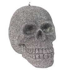 skull Candle Glitter Silver Large Wicca Witch spell Gothic horror New Sale