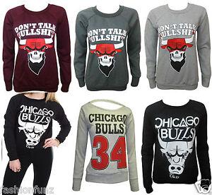 Womens Ladies CHICAGO BULL Printed Slogan Sweatshirt Pull Over Jumper Top  8/14