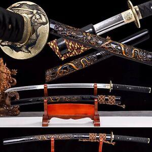 Handmade Clay Tempered T1095 Japanese Samurai Sword DRAGON katana Razor Sharp