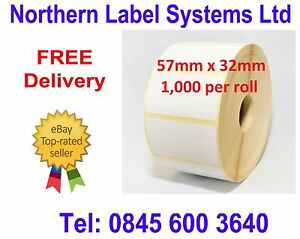 57mm x 32mm WHITE Direct Thermal Labels, fits BROTHER TD-4000 / TD-4100N