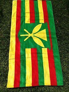 """Hawaii Beach Pool Bath Towel 60"""" x 32"""" ~ MONARCHY HAWAIIAN KANAKA FLAG"""