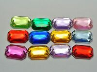 100 Mixed Color Flatback Acrylic Square Rhinestone Button 10X14mm Sew on beads