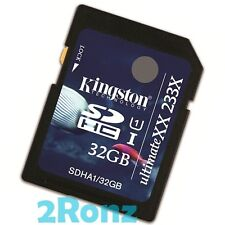 Kingston 32GB 32G 233x SDHC SD Flash Card Memory Camera DSLR Video C10 UHS-I U1