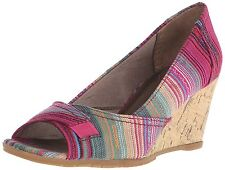 Women's Life Stride Promote Slip On Open Toe Canvas Wedge Pink Multicolor 7.5