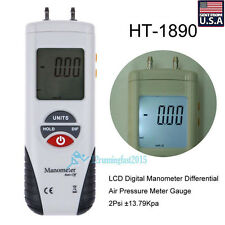 LCD Digital Manometer Differential Air Pressure Meter Gauge 2Psi ±13.79Kpa