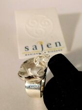 Sajen Sterling Silver 925 Carved Crystal Frog Ring Adjustable Band Size 10 NEW
