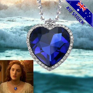 Classic Heart Of The Ocean Love Heart Sapphire Silver Tone Pendant Necklace Gift