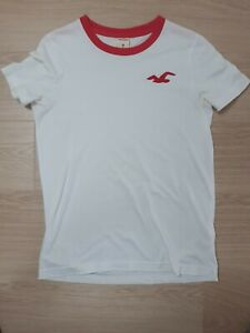 Mens Hollister T-Shirt Size M medium white/light red trim