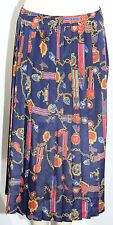 Vtg Alfred Dunner Size 18 Regalia Metals Red Blue Ankle Length Pleated Skirt EUC