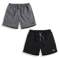 Mens Elastic Drawstring Waist Cargo Shorts Quick Dry Summer Casual Beach Pants