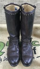 Women's Frye Mid-Calf Studded Brown Leather Boots Size 7.5 NARROW FIT PULL-ON