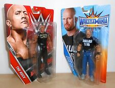 "WWE - The Rock vs ""Stone Cold"" Steve Austin - Mattel Basics - wrestling figures"