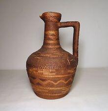 Rare Northwest Coast Tlingit Polychrome Twined Basketry Covered Pottery Ewer