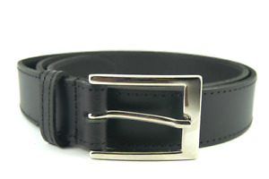 Mens 30mm Black Leather Belt & Stylish Buckle - Hand Made & Stitched In England
