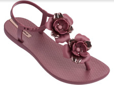 Ipanema Women`s Flip Flops IPA Floret Sandal Burgundy Rose Floral Sandals NWT