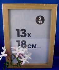 NEW (3 Pack) NATURAL WOOD 13cm x 18cm SCANDANAVIAN Photo Frames Hang or Standing