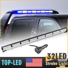 """35"""" 36"""" 32 LED Emergency Warning Traffic Advisor 32W Strobe Light Bar Blue White"""
