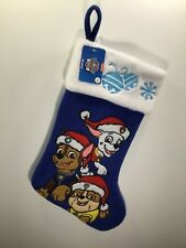 Nickelodeon Paw Patrol Blue White Christmas Stocking Chase Rubble Marshall NEW