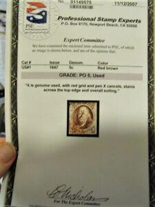 U. S. Stamp, Scotts # 1, 5c, Red Br, PSE Grade 5, red/Ink Cancelled, Nice