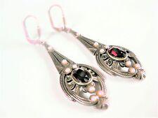 Antike Ohrringe Silber 925 mit Granat und Saatperlchen