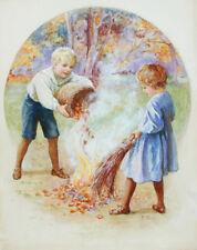 "50% OFF SALE British Watercolor EVELINE LANCE The Bonfire Published 8"" x 7"""