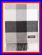 100% Cashmere Scarf Black Gray Check Plaid Scottish Ghram Wool Infinity Men Z451
