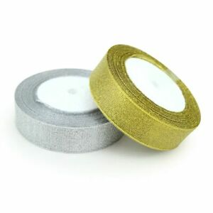 Gold And Silver Gift Packaging Ribbon Wedding Shiny Ribbons Polyester Nylon Bow