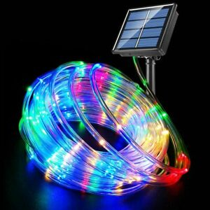 2Pcs Solar Rope Tube Lights 50/100 LED Strip Outdoor Landscape Garden Lighting