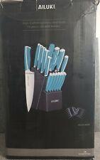 AILUKI 18- Piece Kitchen Knife Set with Wooden Block. Teal