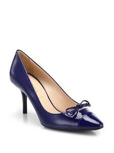 PRADA MILANO CLASSIC BLUE PATENT LOGO BOW POINTED TOE PUMPS EU 39.5 I LOVE SHOES