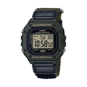 Casio Men's Classic Digital Quartz Green Resin/Nylon Watch W218HB-3AV