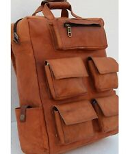 "Vintage Leather 16"" Backpack Laptop Bag Hiking Travel Camping Satchel For Men"