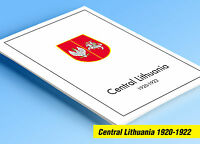 COLOR PRINTED CENTRAL LITHUANIA 1920-1922 STAMP ALBUM PAGES (6 illustr. pages)