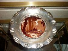 Superbe plat en cristal dégagé à l'acide et métal argenté signé  XIXe Siècle