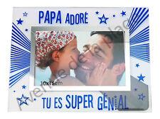 """Cadre photo """"Papa Adoré"""" à poser horizontal en verre idée cadeau Père neuf"""