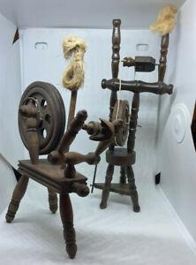 2 miniature small wooden Spinning Wheel Yarn Winder 8 in / 9.5 in