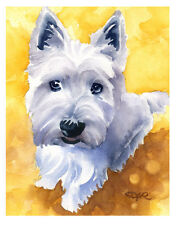 """WEST HIGHLAND TERRIER"" Watercolor Dog ART Print Signed by Artist DJR"