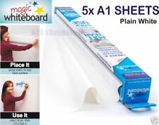 More details for magic whiteboard 5 x a1 sheets dry wipe plain white roll self stick reusable