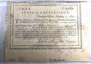 RARE STATE OF CONNECTICUT TREASURY NOTE FEB 1,1789 JEDDIAH HUNTINGTON TREASURER