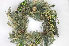 Gisela Graham Natale Glitter Oro Verde BACCA CONI ABETE Ghirlanda 50cm