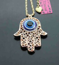 C622     Betsey Johnson Crystal Turkey Evil Eye Hamsa Hand Pendant Necklaces