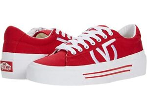 Vans Sid Ni Canvas Racing Red True White Size US Men's 9.5/ Women's 11  New
