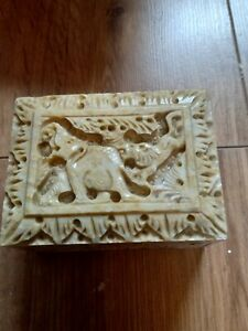 Chinese style carved soapstone box