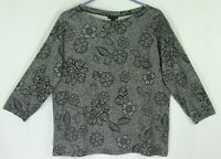 J. Jill Wearever Top Size Medium M Black White Floral 3/4 Sleeve Pullover 1H