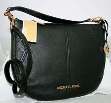 New Michael Kors Bedford Medium Crescent Black Leather Shoulder Crossbody Bag
